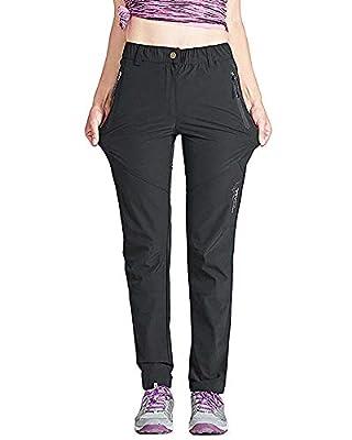 Women's Quick Dry Hiking Pants Sun Protection Mountain Trousers Lightweight Climbing Pants Black M