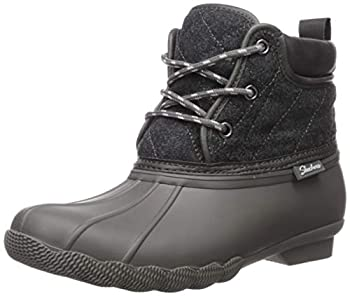 Skechers Women s Pond-Lil Puddles-Mid Quilted Lace Up Duck Boot with Waterproof Outsole Rain Charcoal 7 M US