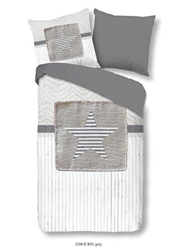 Good Morning! 2208.03.13 Parure de lit 3 pièces en Coton renforcé avec 1 taie d'oreiller 80 x 80 cm Gris