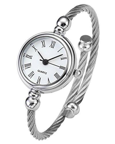 JSDDE Uhren Damen Armbanduhr Chic Manschette Damenuhr Spangenuhr Römische Ziffern Armreifen Quarzuhr Silber Weiß