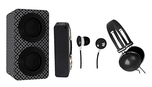 NAXA Electronics NAS-3061A Portable Bluetooth Stereo Speaker Entertainment Pack with Headphones, Earphones and Battery Pack, Black