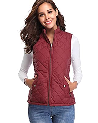fuinloth Women's Padded Vest, Stand Collar Lightweight Zip Quilted Gilet Wine Red S