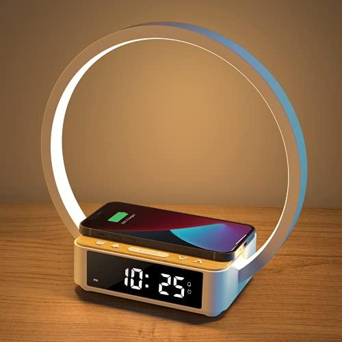 Amouhom LED Nachttischlampe, 18W Touch Control Dimmbar Tischlampe Wake Up Licht mit Wecker 10W Wireless Charger Nachtlicht & 3 Stufige Helligkeit Warmweißes Licht für Schlafzimmer Wohnzimmer