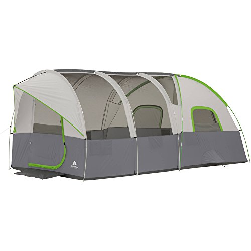 Ozark Trail 16' x 9' Modified Dome Tunnel Tent,With Large Mesh Panels,Front and Back Door,Pockets and Electrical Port Access,Ground Vents,Carry Bag and Tent Stakes Also Included,Sleeps 10,Gray/Green