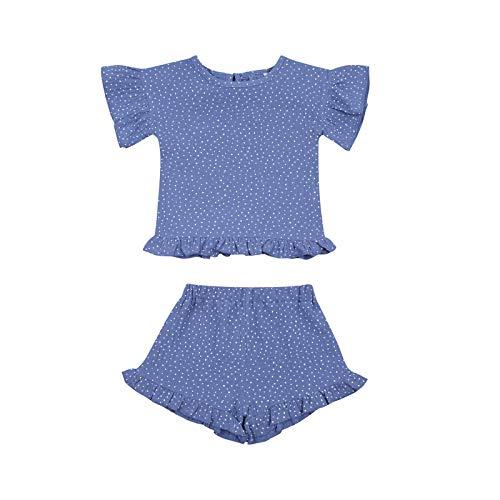 LUCSUN Conjunto de ropa para bebé niña con volantes de manga corta color soild camisa + pantalones cortos 2 piezas