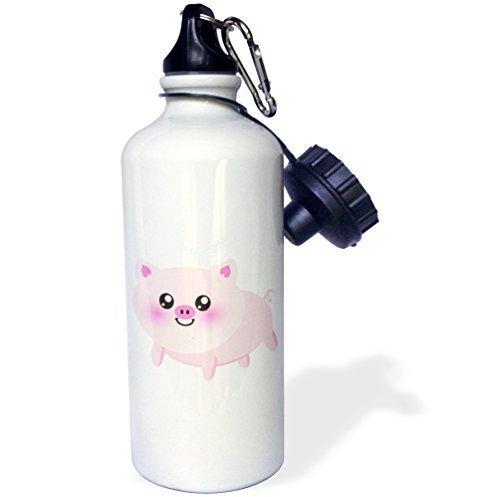 Cukudy Water Fles Cadeau, Leuke Gelukkig Varken Cartoon Roze Kawaii Boerderij Dierenkwekerij Kinderen Kindervarken Varkensvlees Bacon Ham Wit RVS Water Fles voor Vrouwen Mannen 21oz