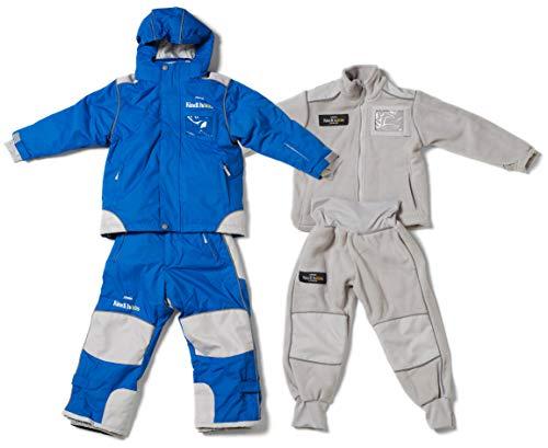 Kindihääs - Kinder 4in1 Skianzug Regenanzug Fleeceanzug - Jungen Mädchen Unisex Schneeanzug wasserdicht - 4tlg Jacke & Hose - Marineblau Gr. 104/110