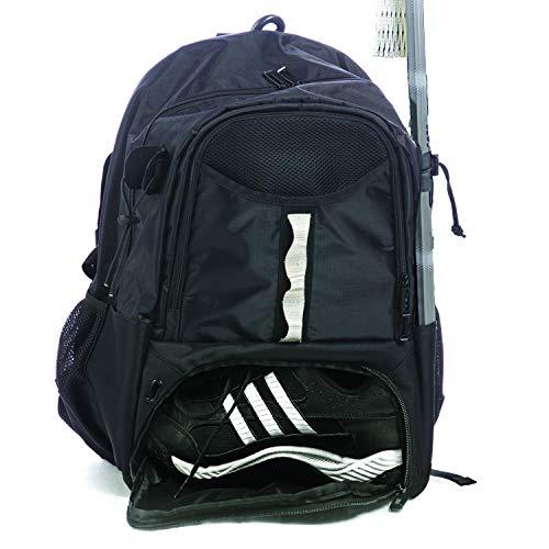 Athletico Lacrosse-Tasche für Jugendliche – Extra großer Lacrosse-Rucksack – hält alle Lacrosse- oder Feldhockey-Ausrüstung – zwei Schlägerhalter und separates Stollenfach (schwarz)