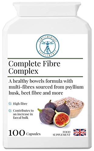 Complementary Supplements | Complete Fibre Complex | Dietary Fibre & Herbal Formula | Psyllium Husk | Sugar Beet | Flaxseed | Fenugreek | Vegan | 100 Capsules