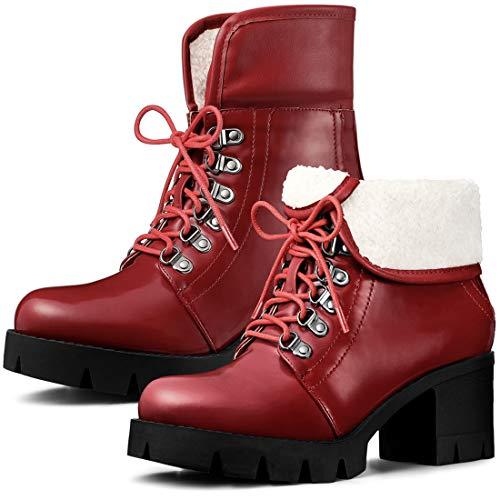 Allegra K Women's Platform Combat Chunky Heel Ankle Boots
