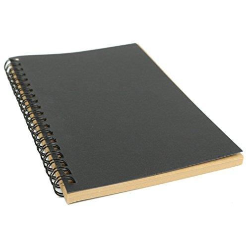 Tous les jours rétro Kraft spirales blanches Graffiti croquis ordinateur portable Graduation Cadeau Black Cover + Kraft Paper noir