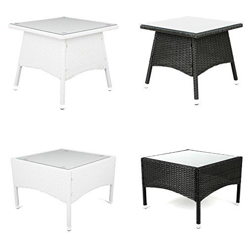 ESTEXO® Polyrattan - Beistelltisch, Tisch, Rattan, Teetisch, Gartentisch (58x58x42 cm, Weiß)