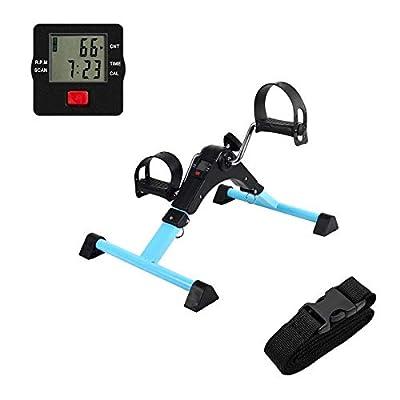 AHMED Folding Under Desk Bike Pedal Exerciser for Arm/Leg Medical Fitness Exercise Bike Mini Portable Home Workout Blue