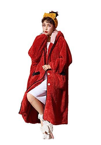MedusaABCZeus Suave Albornoz para Hombres y Mujeres,Albornoz Bata Kimono Bata Bata,Camisón de Lana Coral Mujer Camisón de Cachemir con capucha-03_M