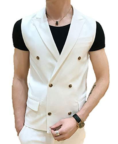 Heaven Days(ヘブンデイズ) ベスト ジレ フォーマル オッドベスト スーツ 紳士 ビジネス ダブルボタン テーラード襟 無地 スリム メンズ 1809B0129