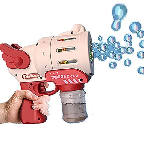 XINR Máquina de Burbujas para niños Burbuja Pistolas con solución Burbuja Speller para favores de Fiesta, Juguete de Verano, Actividad al Aire Libre, Regalo de cumpleaños Boys Girls Fun Games