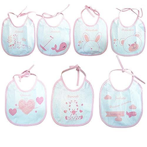 Melanie-Bavette settimanali- 7 bavaglini con giorni della settimana- Bavaglini Impermeabili- Idea regalo neonato- Bavaglini allattamento e pappa- Cotone 100% con retro impermeabile (rosa)