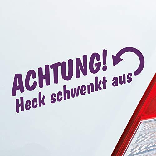 Auto Aufkleber in deiner Wunschfarbe Achtung Heck schwenkt aus Fett Anhänger ca. 19 x 6 cm Autoaufkleber Sticker