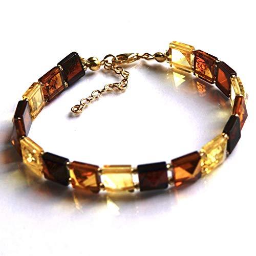 Baltischer Bernstein 24 Karat Gold Vermeil L Größe Armband