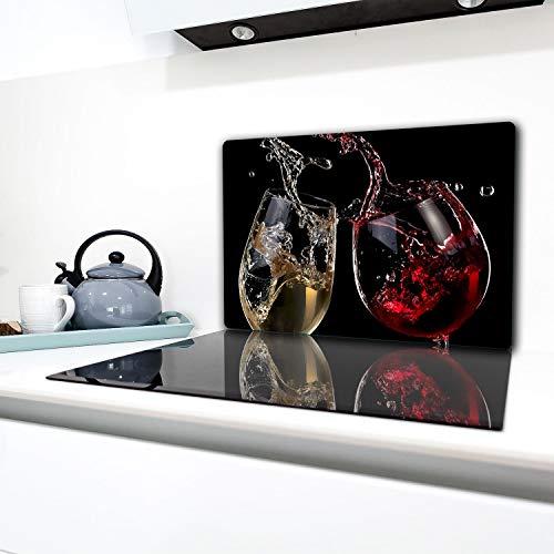TMK | Herdabdeckplatte 80x52 cm 1-teilig Ceranfeldabdeckung Induktion Herdschutz Spritzschutz Glasplatte Deko Schneidebrett Wein Schwarz