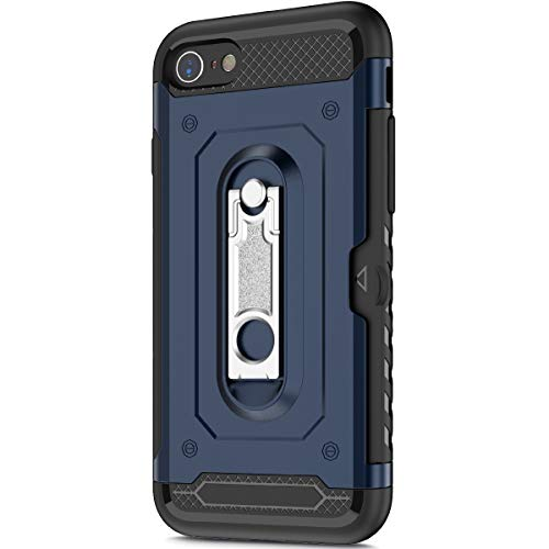 KunyFond Support Mobile Carte Credit Deux en un Gel Housse Étui Armure 2 en 1 Souple Flexible Ultra Mince PC+TPU Anti-chute Card Slot Etui Bumper Case Cover Couverture Coque Compatible iPhone 7/8-Bleu