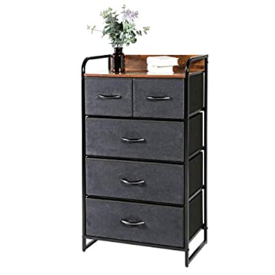 Kamiler 5-Drawer Dresser, 4-Tier Storage Organizer, Tower Unit for Bedroom, Hallway, Entryway, Closets - Sturdy Steel Frame, Wooden Top, Removable Fabric Bins(Rustic Brown)