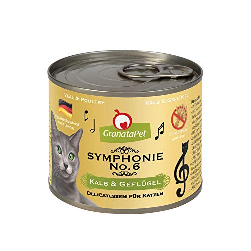 GranataPet Symphonie No. 6 Lot de 6 sachets de 200 g de Nourriture pour Chat Veau et volaille