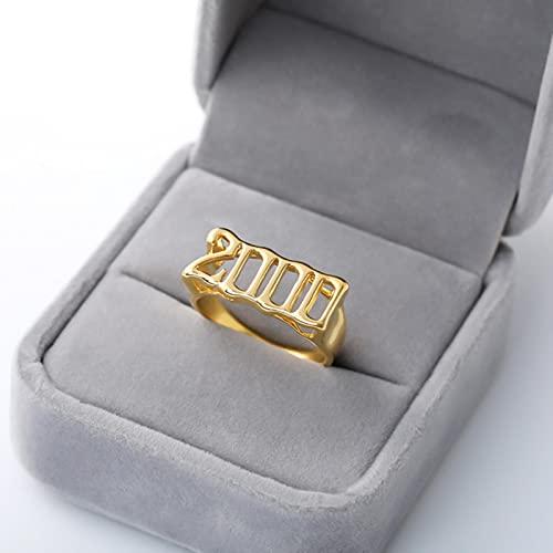 SONGK Anillos de Acero Inoxidable para el año de Nacimiento para Mujeres, Hombres, Anillo de Oro, Boda, gótico, Accesorios de joyería Vintage