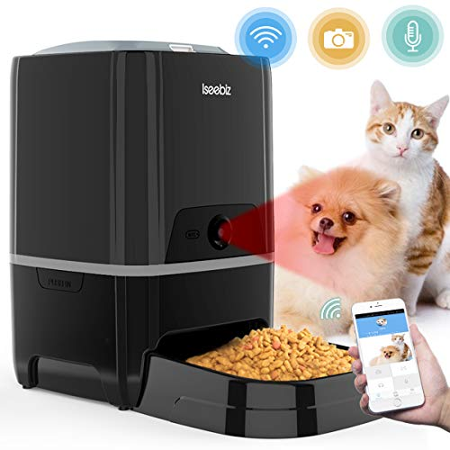 Smart Pet Feeder with Camera, Automatic Cat Feeder APP Remote Control Feeding,...