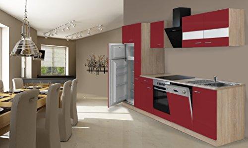respekta Inbouw keuken kitchenette 310 cm eiken Sonoma ruw gezaagd rood incl. koel-vriescombinatie Ceran & vaatwasser