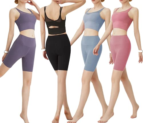 CK CrisKat Mujer Conjunto de Ropa Deportiva Secado Rápido Top y Pantalones Cortos Set 2 Piezas Ropa de Fitness para Gimnasio Yoga de Entrenamiento (S, Rosa)