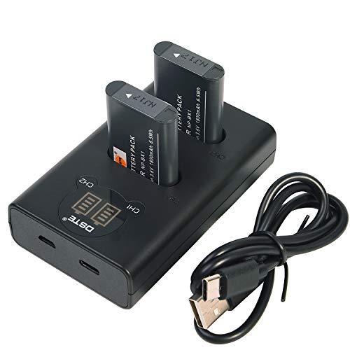 DSTE 2X NP-BX1 Repuesto Batería + Cargador USB Dual con Pantalla LCD Compatible para NP-BX1/M8 y Sony ZV1 ZV-1 Cyber-Shot HDR-CX240E DSC-RX10 II DSC-RX1B DSC-RX1R DSC-RX1R/B DSC-RX100 II Cámara