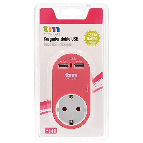 TM Electron TMUAD114P - Adaptador de corriente cargador con una toma de enchufe y 2 tomas USB, color rosa