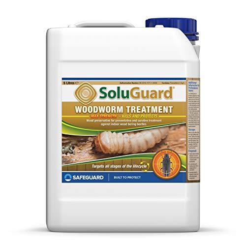 SAFEGUARD Soluguard Woodworm Treatment - Ready For Use High Strength Woodworm Killer Spray (5 Litre, Clear)