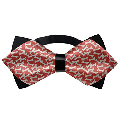 Mens Fashion Dog Bones Pre-Tied Bowtie, Adjustable Length Formal Suit Bow Ties Butterfly Bow Tie - Formal Event Wedding Polyester Cravat For Children Younth