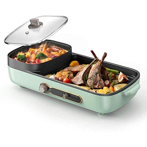 Grill eléctrico sin humo del hogar Parrilla Horno, Hot Pot, antiadherente Pan, con ajuste de temperatura de funciones, para la cena en casa (800 W)