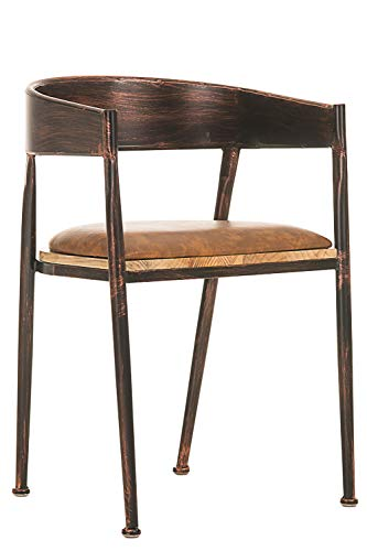 CLP Chaise de Bar Design Industriel Belvedere I Tabouret de Bar Style Industriel Assise Rembourrée Accoudoirs et Dossier I Chaise de Bistro Pieds en Bois I Couleur: Bronze