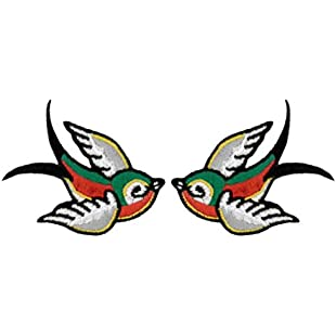 Swallow Embroidered (Multicoloured) Patches (Pack of 2) 4.2CM x 4CM each