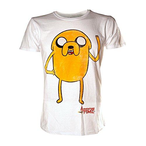 Adventure Time Herren Jake Waving T-Shirt, Weiß (Weiß), L