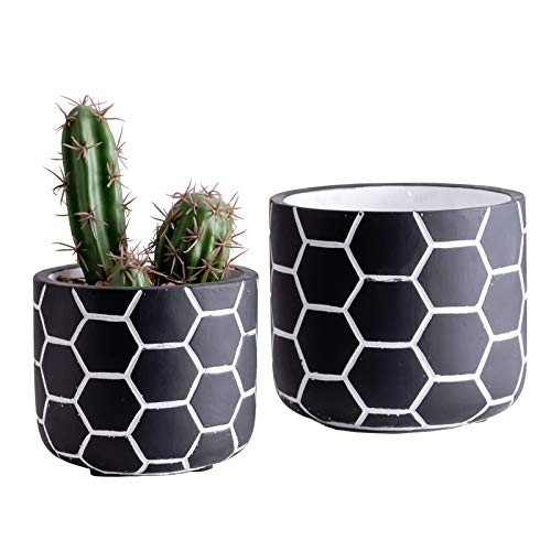 Rihihi Set of 2 Cement Planter Pots, 4.75 Inch & 5.9 Inch Concrete Flower Plant Pots, Geometry Patterned Cylinder Pot with Drainage Hole, for Indoor & Outdoor Plants Home Garden Container, Black
