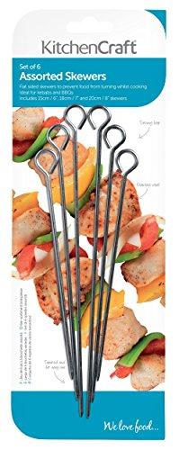 KitchenCraft BBQ Kebab Skewers (Set of 6 Assorted Metal Skewer Sticks)