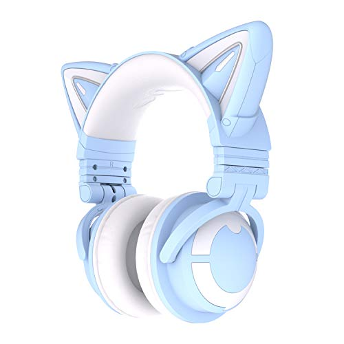 YOWU RGB Cat Ear Headphone 3S Wireless Bluetooth 5.0 Foldable Gaming Headset with Built-in Mic & Customizable Lighting and Effect via APP, Type-C Charging Audio Cable, for PC Laptop Mac Smartphone