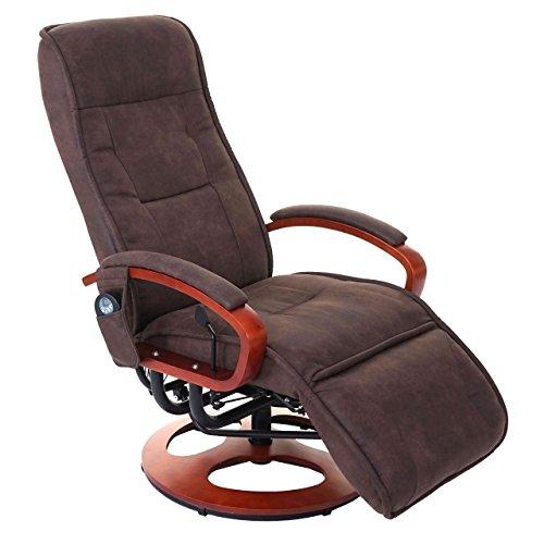 Mendler Relaxliege Arles II, Relaxsessel Massagesessel, MIT Massage Stoff/Textil ~ Wildlederimitat braun