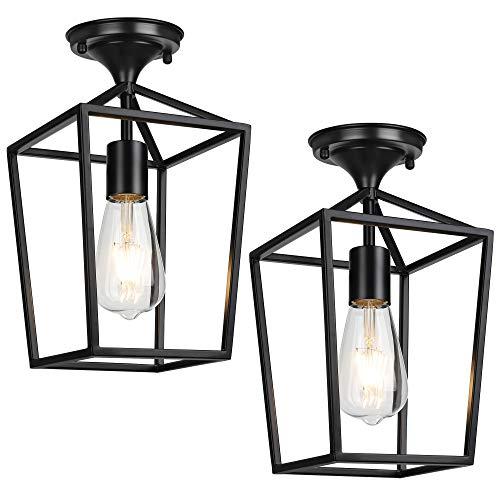 Semi-Flush Mount Ceiling Lights, Black Industrial Ceiling Light Fixtures, E26 Base Farmhouse Lighting for Porch Hallway Stairway Garage Laundry Room, 2 Packs