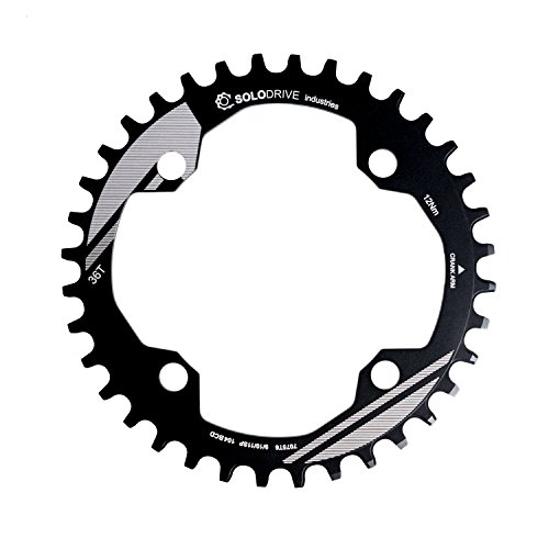 SOLODRIVE 104BCD Mountain Bike Narrow Wide Chainring, 104mm BCD Single Chainring for 9/10/11-Speed MTB, Trail, Fat Bike, Black, 32T