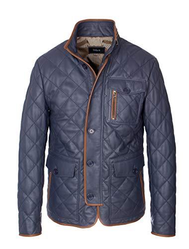 Lolus Gesteppte Herren Lederjacke Clay aus weichem Lammleder | stilvolle und Elegante Steppjacke | (60, Blau)