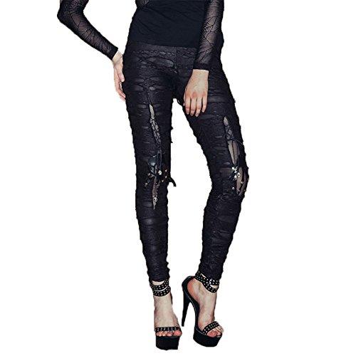 Devil Fashion Gothic Boyfriend Style Jeans Gestreifte Holey Ripped Jeans für Damen mit Skelett in den Knien Sexy und stilvolle Long Stretch-Hosen.(S)