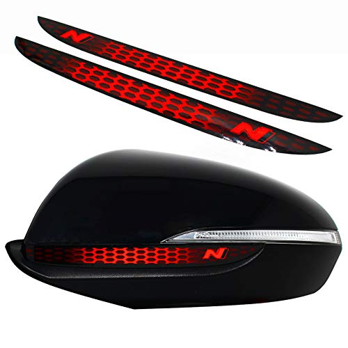 Spiegelstreifen Spiegel Aufkleber Folie Streifen Dekor Außenspiegel Rückspiegel Autoaufkleber Digitaldruck Waben (Neon Rot (DS013))