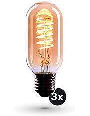 3x Bombilla Edison Crown LED base E27   Regulable, 4W, 2200 K, luz cálida, EL06   Iluminación de Filamento antiguo con apariencia retro vintage   Etiqueta Energética de la Unión Europea: A+