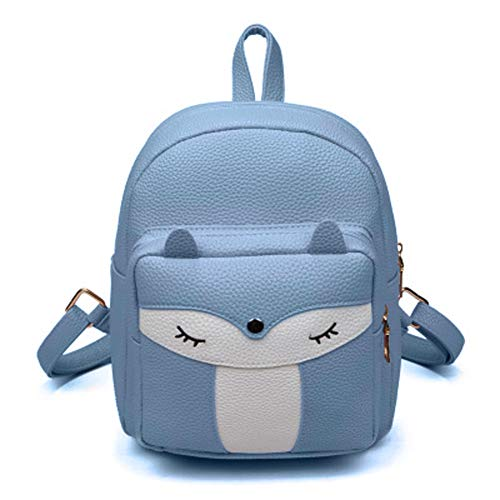 Cute Mini Leather Fox Fashion Backpack Small Daypacks Purse for Girls (blue)